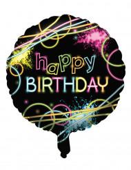 Happy Birthday - Aluminiumballong med neontryck 45 cm