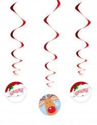 Hängande juldekorationer med julgubben och renar