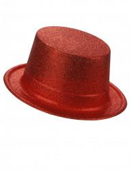 Röd hög hatt i plast med paljetter för vuxna