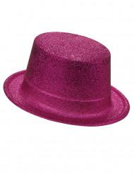 Hög hatt i plast med rosa paljetter för vuxna
