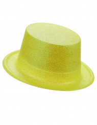 Hög gul hatt i plast med paljetter för vuxna