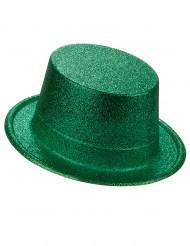 Hög hatt i plast med gröna paljetter för vuxna