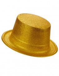 Hög hatt i plast med guldfärgade paljetter för vuxna