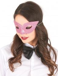 Venetiansk ögonmask i rosa med paljetter