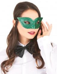 Venetiansk ögonmask i grönt med paljetter