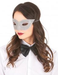 Silverfärgad venetiansk ögonmask med glitter