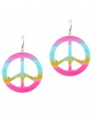 Flerfärgade plastörhängen Peace&Love för vuxna
