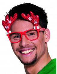 Röda glasögon med renar för vuxna till jul