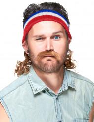 Pannband i rött blått vitt med hockeyfrilla och mustasch