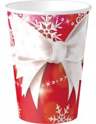 8 Kartongmuggar till Jul med rosett 250 ml