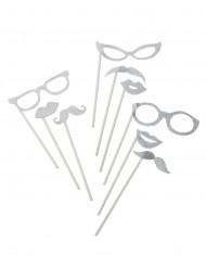 Silverfärgat photoboothkit med 9 delar