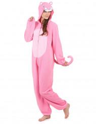 Helkroppsdräkt med luva rosa pantern vuxen