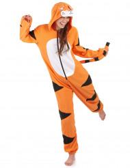 Helkroppsdräkt med luva tiger vuxen