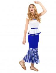 Gallisk kostym i vitt och blått dam