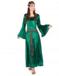 Grön medeltidsdräkt dam