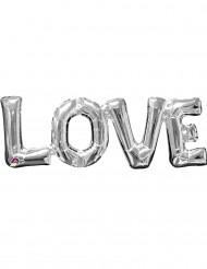 Love - Aluminiumballong i silver