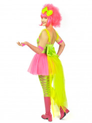 Neonfärgad kostym med släp i tyll dam