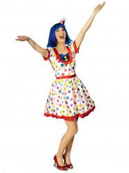 Clownklänning med färgade prickar