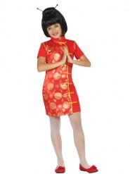 Röd och guldfärgad kostym med kinesisk inspiration för barn