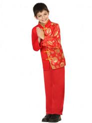 Röd och guldfärgad kostym för barn med kinesisk inspiration