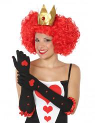 Långa svarta handskar med hjärtan dam