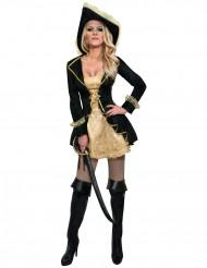 Kostym för barock pirat i svart och guld dam