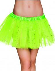 Neongrön tyllkjol med glitter för vuxna