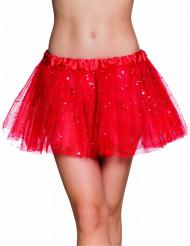 Röd glittrande tyllkjol för vuxna