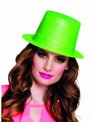 Grön cylinderhatt med paljetter för vuxna