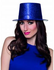Kungsblå cylinderhatt med glitter för vuxna