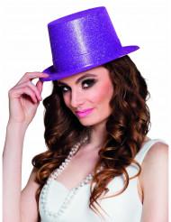 Lila cylinderhatt i plast med glitter - Hattar till maskeraden