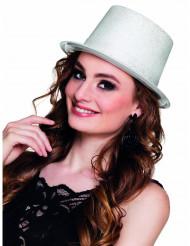 Glittrig cylinderhatt i vitt för vuxna