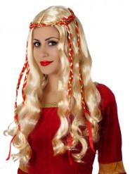 Lång blond peruk för vuxna med dekorativa band