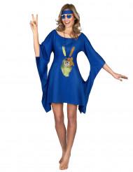 Blå hippieklänning peace & love - Maskeraddräkt för vuxna