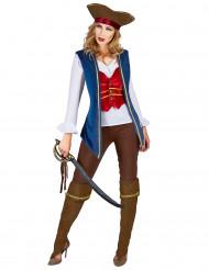 Blå och plommonfärgad piratdräkt för damer