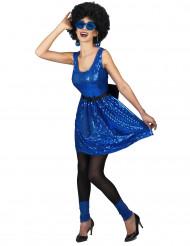 Blå discoklänning med rosett - Maskeraddräkt vuxen
