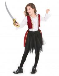 Piratdräkt i purpurröd sammet och svart tyllkjol flickor