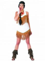 Indianklänning i vitt med fransar - Maskeraddräkt för vuxna