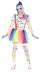 Clown med färgstänk - utklädnad vuxen