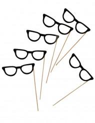 6 svarta glasögon för photobooth 13 cm