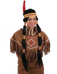 Svart lång indianperuk