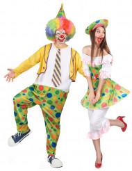 Prickiga clowner pardräkt vuxen