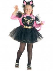 Busig katt i rosa och svart - Maskeraddräkt för barn