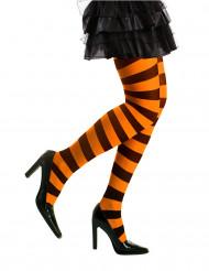 Randiga strumpbyxor i oranget och svart - Halloweentillbehör