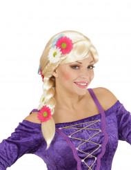 Blond peruk med fläta och blommor