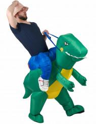 Upptäckare rider på dinosaurie - utklädnad vuxen