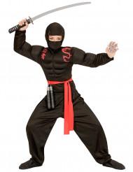 Svart ninjadräkt med muskelmönster barn