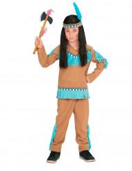 Indiandräkt med blåa fransar för barn till maskeraden