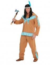 Indianskinspirerad kostym i brunt och blått herrar