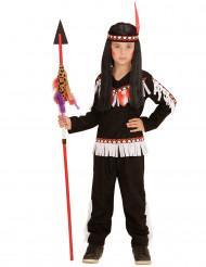 Indiandräkt med vita fransar för barn till maskeraden